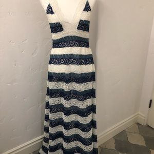1st Sight blue and white lace dress